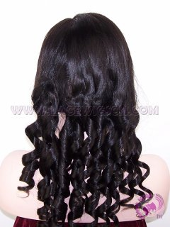 Yaki Loose Barrel Curl #1B stock Indian Remy Hair SILK TOP Lace Wigs