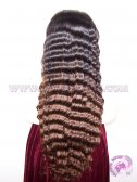 Deep Wave #1b T #4 (ombre color) Brazilian Virgin Hair Silk Base Lace Wigs