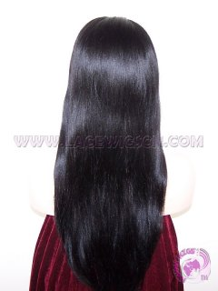 Light Yaki Staight #1 Indian Remy Hair SILK TOP Lace Wigs