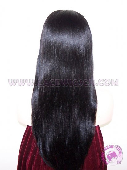 Light Yaki Staight #1 Indian Remy Hair Lace Front Wigs - Click Image to Close