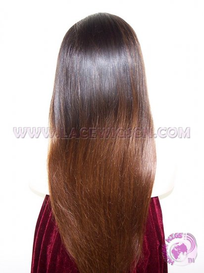 Straight #1b T #4 (ombre color) Brazilian Virgin Hair Full Lace Wigs - Click Image to Close