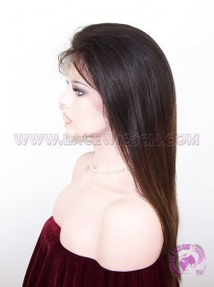 Straight #1b T #4 (ombre color) Indian remy Hair Silk Top Lace Wigs