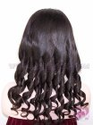 Light Yaki Barrel Curl With Long Bangs #1b Indian Remy Hair Stock Silk Base Wigs