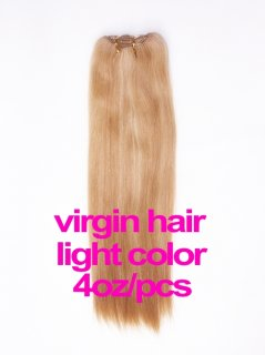 virgin hair 4oz/pcs light color(#8-#613) CLIPS IN HAIR EXTENSION