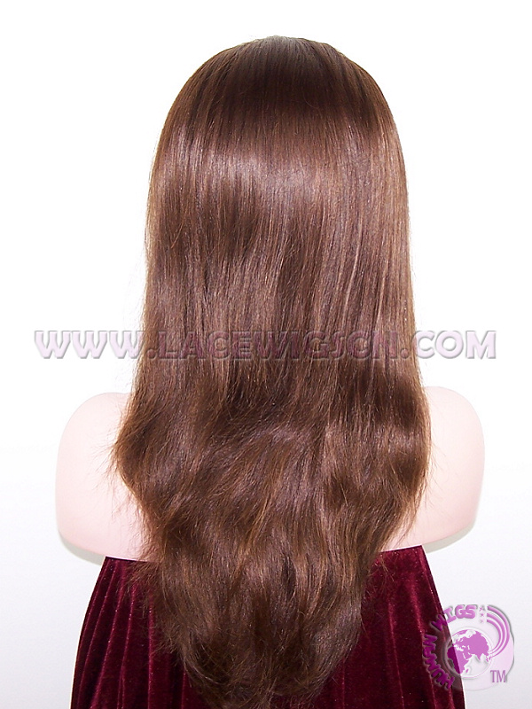 Natural Straight #4 Brazilian Virgin Hair Full Lace Wigs - Click Image to Close