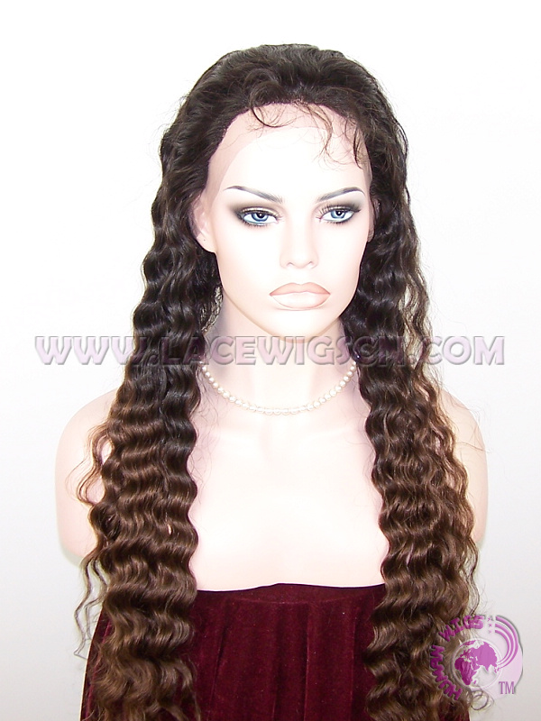 Deep Wave #1b T #4 (ombre color) Brazilian Virgin Hair Full Lace Wigs - Click Image to Close