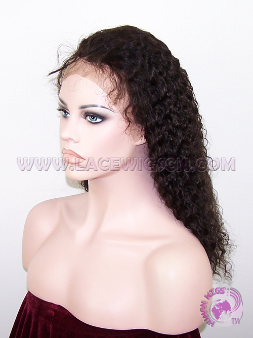 Curly #2 Indian Remy Hair Lace Front Wig - Click Image to Close