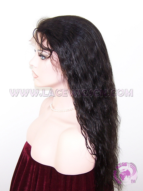 Natural Wave #1b Indian Remy Hair Full Lace Wigs - Click Image to Close