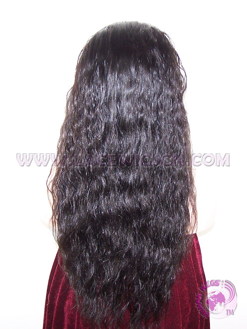 Naturl Wave #1b Indian Remy Hair Silk Top Lace Wigs - Click Image to Close