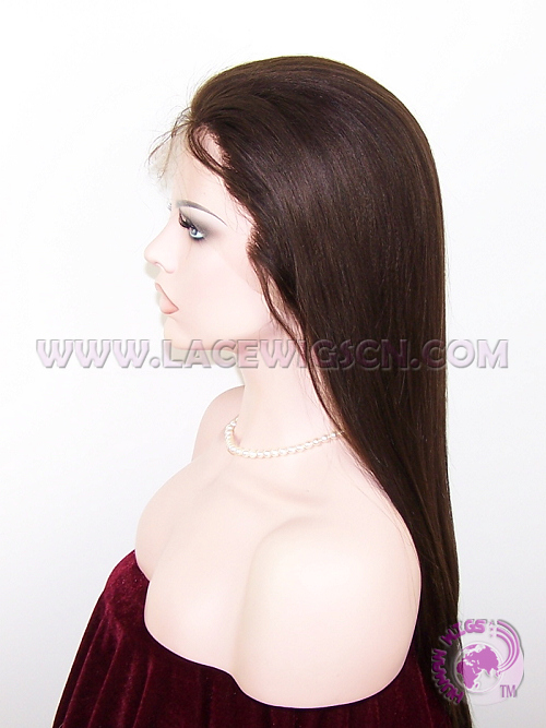 Light Yaki Straight #2 Brazilian Virgin Hair Full Lace Wigs - Click Image to Close
