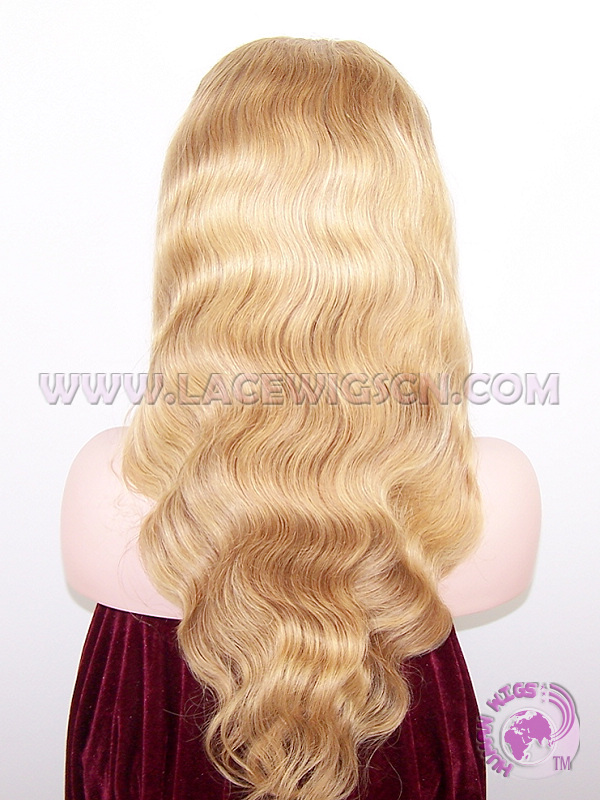 Body Wave #27 Highlight #613 Indian Remy Hair Full Lace Wigs - Click Image to Close