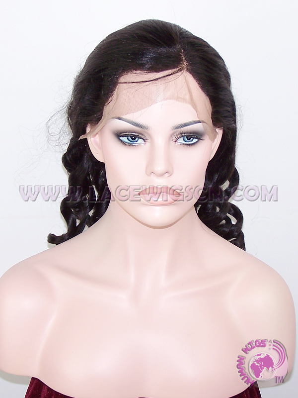 Yaki Loose Barrel Curl #1B Indian Remy Hair Full Lace Wigs - Click Image to Close