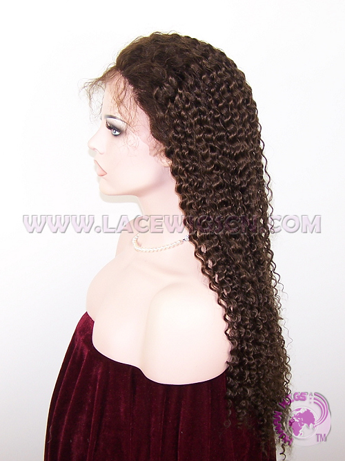 Kinky Curl #3 Indian Remy Hair Full Lace Wigs - Click Image to Close