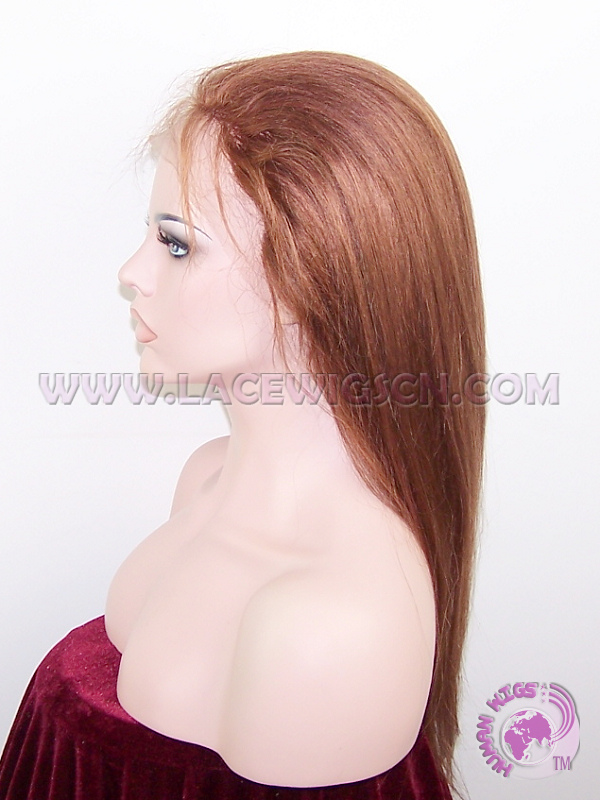 Silky Straight #33 Indian Remy Hair Full Lace Wigs - Click Image to Close