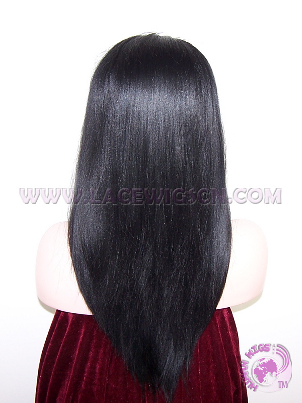 Yaki Straight With Bangs Synthetic #1 Lace Front Wigs - Click Image to Close